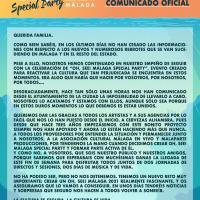 Comunicado cancelación